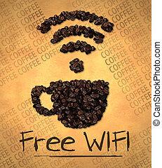 tazza caffè, wifi, libero, fagiolo, icona