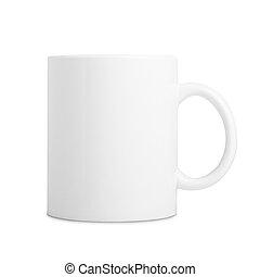 tazza, ceramica, isolato, fondo, bianco