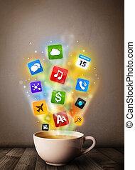 tazza da caffè, con, colorito, media, icone
