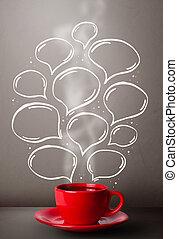 tazza da caffè, con, mano, disegnato, discorso, bolle