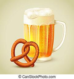tazza, emblema, birra, pretzel
