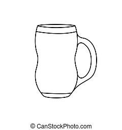 tazza, fondo, isolato, vuoto, bianco, contorno, birra