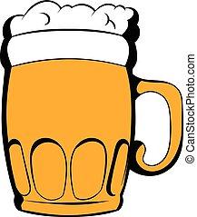 tazza, icona, birra, cartone animato
