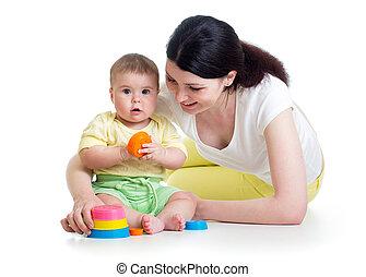 tazza, insieme, mamma, giocattoli, ragazza, gioco, capretto