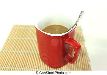 tazza, isolato, bianco rosso, caffè, fondo.