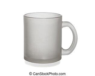 tazza, isolato, vetro, closeup, fondo, bianco