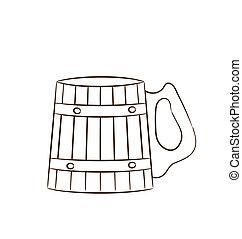 tazza, legno, isolato, birra, fondo, bianco