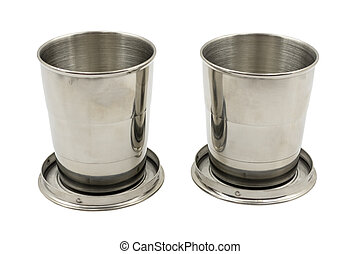 tazza, metallo, piegatura, bianco, due