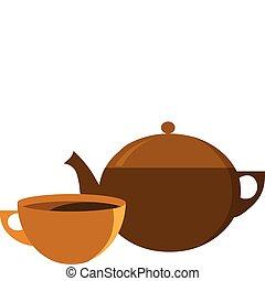 tazza, pot tè, vettore