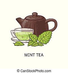tazza, sano, tè, -, vetro, bevanda, verde, menta, disegno