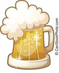tazza, schiuma, isolato, birra, fondo, bianco