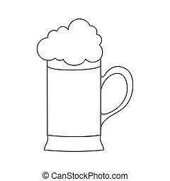 tazza, schiumoso, vuoto, isolato, drink., contorno, tazza, schiuma, bianco, birra, fondo