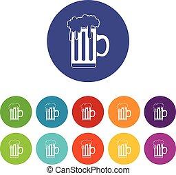 tazza, set, birra, icone