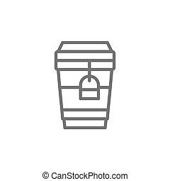 tazza, tè, disponibile, takeaway, linea, cartone, icon.