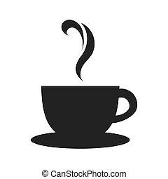 tazza tè, icona, vettore, grafico, tazza da caffè