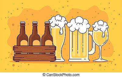 tazza, tazza, fondo, set, legno, scatola gialla, birre, birra