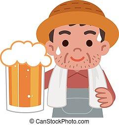tazza, uomini, birra, coltivatori