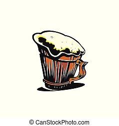 tazza, vettore, birra, illustration.