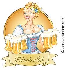 tazze, appuntare, birra, bella ragazza