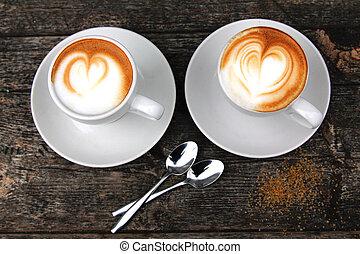 tazze caffè, cappuccino, due