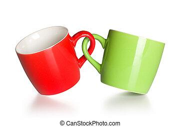 tazze caffè, due, agganciato