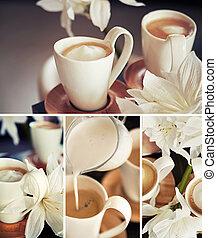 tazze caffè, fiori