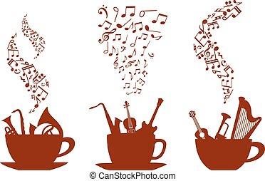 tazze caffè, musicale