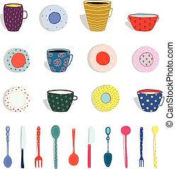 tazze, piatti, argenteria, collezione, piastre, campanelle