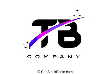 TB T B Black Letter Logo Design with Purple Magenta Swoosh...