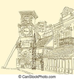 Tbilisi, Georgia, a sketch of a curve tower with a clock and an art cafe near Puppet Theater