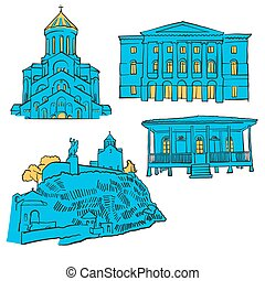 Tbilisi Georgia Colored Landmarks, Scalable Vector Monuments. Filled with Blue Shape and Yellow Highlights.