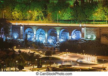 Tbilisi, Georgia. Evening Night Scenic Aerial View Of Park Rike