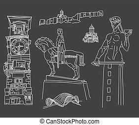 Tbilisi, Georgia. Famous places, sculptures, buildings church bridge hand drawing vector illustration