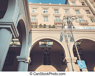 TBILISI, GEORGIA - OCTOBER 19, 2018: View of Tbilisi town, Agmashenebeli st. The facade of the building against the sky