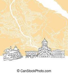 Tbilisi Georgia Skyline Map, One Color Scalable Vector Art Print with Urban Cityscape Illustration