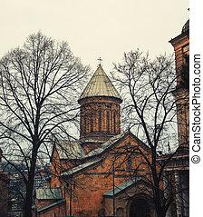 tbilisi, georginia, z, piękny, kościół, w, wiosna