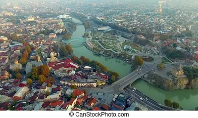 Tbilisi in the morning, aerial