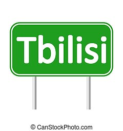 Tbilisi road sign isolated on white background.