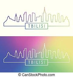 Tbilisi skyline. Colorful linear style.