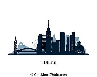 Tbilisi skyline, monochrome silhouette. Vector illustration.
