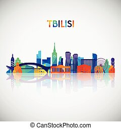 Tbilisi skyline silhouette in colorful geometric style. Symbol for your design. Vector illustration.