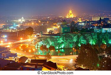 Skyline of Tbilisi at colorful dusk. Georgia