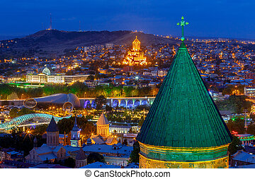 Tbilisi. View of the city at night.