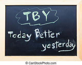 TBY words on Black Board.
