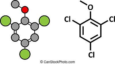 (tca), molecule., wijn., verantwoordelijk, bederf, fungus, ...