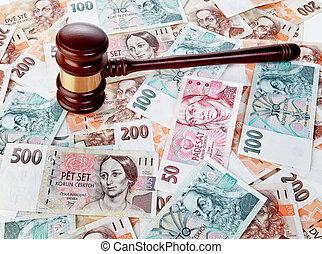 tchèque, billets banque, pièces, république