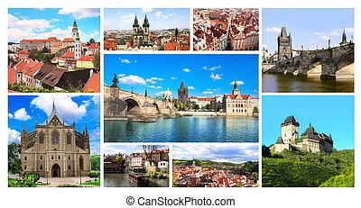 tchèque, célèbre, république, endroits