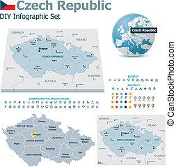 tchèque, cartes, république, marqueurs