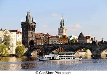 tchèque, charles, république, pont, prague