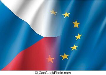 tchèque, eu, symbole, member., république